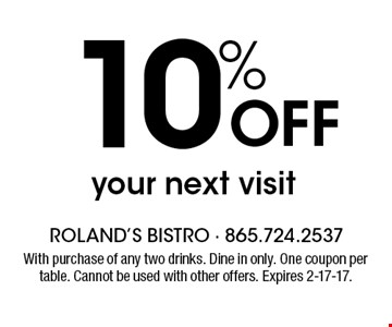 10% Off your next visit. With purchase of any two drinks. Dine in only. One coupon per table. Cannot used with other offers. Expires 2-17-17.