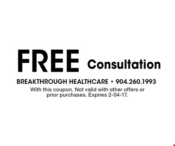 Free Consultation. With this coupon. Not valid with other offers or prior purchases. Expires 2-04-17.