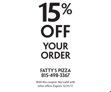15% off your order. With this coupon. Not valid with other offers. Expires 12/31/17.