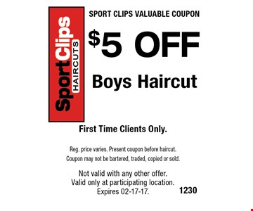 FREE Men or Boys Haircut. First Time Clients Only. Men's reg $19 Reg. price varies. Present coupon before haircut. Coupon may not be bartered, traded, copied or sold.Not valid with any other offer. Valid only at participating location. Expires 02-17-17.