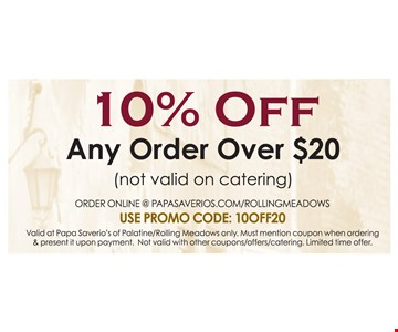 10% Off Any Order Over $20