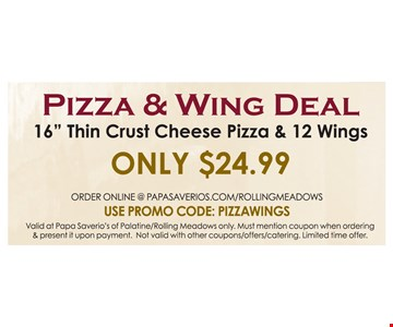 Pizza & Wing Deal Only $24.99