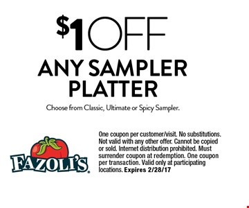 $1 OFF Any Sampler Platter. Choose from Classic, Ultimate or Spicy Sampler. One coupon per customer/visit. No substitutions. Not valid with any other offer. Cannot be copied or sold. Internet distribution prohibited. Must surrender coupon at redemption. One coupon per transaction. Valid only at participating locations. Expires 2/28/17