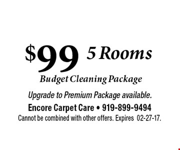 $99  Carpet Cleaning . Upgrade to Premium Package available.Encore Carpet Care - 919-899-9494Cannot be combined with other offers. Expires02-27-17.