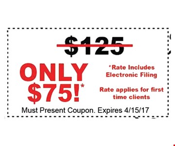 $50 Off Tax Preparation. Must present coupon. Expo. 4-15-17