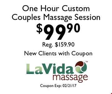 $99.90 One Hour Custom Couples Massage Session. Coupon Exp: 02/21/17