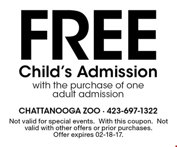 Free Child's Admission with the purchase of one adult admission. Not valid for special events.With this coupon.Not valid with other offers or prior purchases.Offer expires 02-18-17.