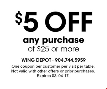 $5 OFF any purchase of $25 or more. One coupon per customer per visit per table. Not valid with other offers or prior purchases. Expires 03-04-17.