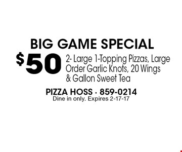 $50Pizza Hoss - 859-0214Dine in only. Expires 2-17-17