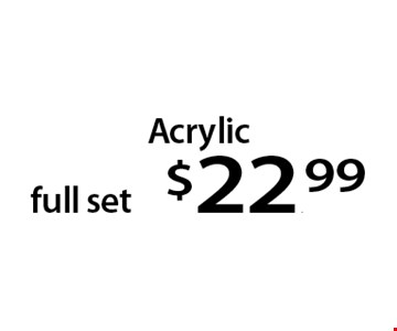 Acrylic full set $22.99. With this Clipper coupon. Not valid with other offers or prior services. Offer expires 02-20-17.