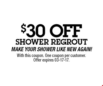 $50 OFF With this coupon. One coupon per customer.Offer expires 03-17-17.
