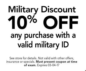 10% OFF any purchase with a valid military ID. See store for details. Not valid with other offers, insurance or specials. Must present coupon at timeof exam. Expires 03-04-17