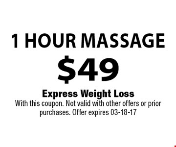 Venus FreezeEye Lift$249 . Express Weight LossWith this coupon. Not valid with other offers or prior purchases. Offer expires 03-18-17