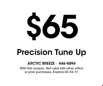 $65 Precision Tune Up. With this coupon. Not valid with other offers or prior purchases. Expires 03-04-17.