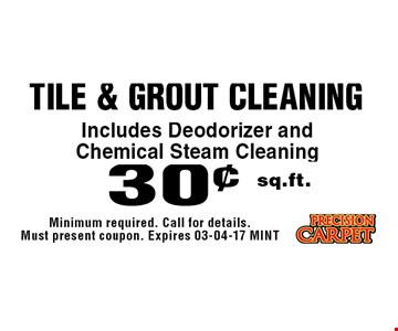 30¢ sq.ft. tile & Grout Cleaning. Minimum required. Call for details. Must present coupon. Expires 03-04-17 MINT