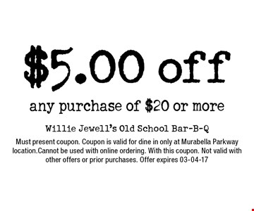 $5.00 off any purchase of $20 or more. Must present coupon. Coupon is valid for dine in only at Murabella Parkway location.Cannot be used with online ordering. With this coupon. Not valid with other offers or prior purchases. Offer expires 03-04-17