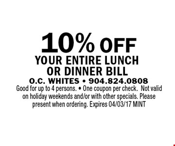 10% OFF YOUR ENTIRE LUNCH OR DINNER BILL. Good for up to 4 persons. - One coupon per check.Not valid on holiday weekends and/or with other specials. Please present when ordering. Expires 04/03/17 MINT