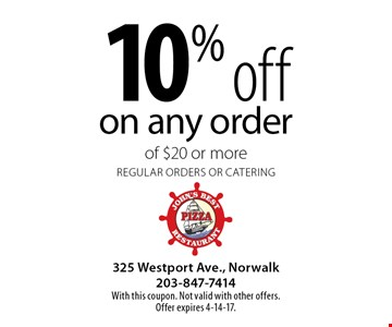 10% off on any order of $20 or more. Regular orders or catering. With this coupon. Not valid with other offers. Offer expires 4-14-17.