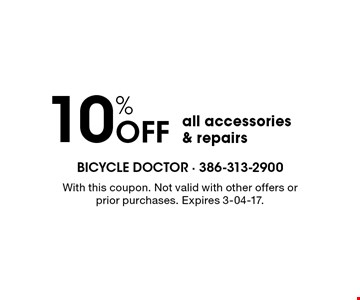 10% Off all accessories & repairs. With this coupon. Not valid with other offers or prior purchases. Expires 3-04-17.