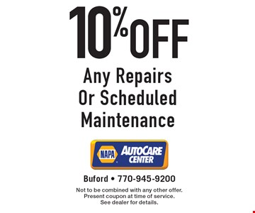 10% off Any Repairs Or Scheduled Maintenance. Not to be combined with any other offer. Present coupon at time of service. See dealer for details.