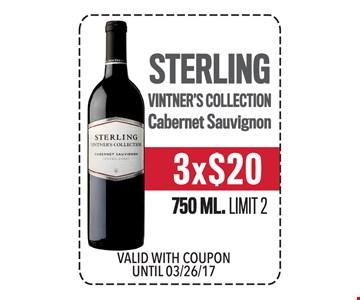 3x$20 Sterling Vintner's Collection Cabernet Sauvignon 750 ML. Limit 2