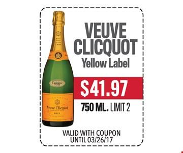 $41.97 Veuve Clicquot Yellow Label 750 ML. Limit 2