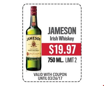 $19.97 Jameson Irish Whiskey 750 ML. Limit 2