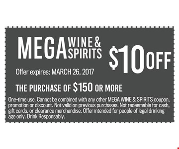 $10 Off The Purchase Of $150 Or More