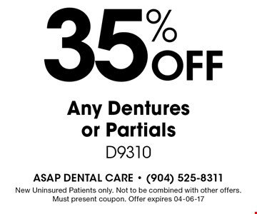 35% Off Any Dentures or Partials D9310. New Uninsured Patients only. Not to be combined with other offers. Must present coupon. Offer expires 04-06-17