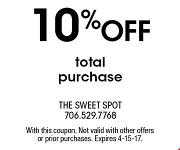 10% OFF total purchase. With this coupon. Not valid with other offers or prior purchases. Expires 4-15-17.