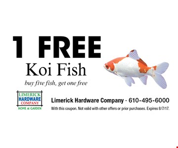 1 Free Koi Fish buy five fish, get one free . With this coupon. Not valid with other offers or prior purchases. Expires 8/7/17.