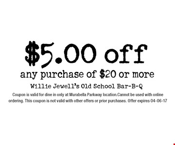 $5.00 off any purchase of $20 or more. Coupon is valid for dine in only at Murabella Parkway location.Cannot be used with online ordering. This coupon is not valid with other offers or prior purchases. Offer expires 04-06-17