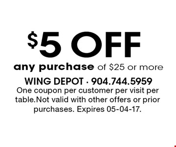 $5 OFF any purchase of $25 or more. One coupon per customer per visit per table.Not valid with other offers or prior purchases. Expires 05-04-17.