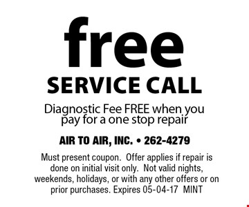 freeservice callDiagnostic Fee FREE when you pay for a one stop repair. Must present coupon.Offer applies if repair is done on initial visit only.Not valid nights, weekends, holidays, or with any other offers or on prior purchases. Expires 05-04-17MINT