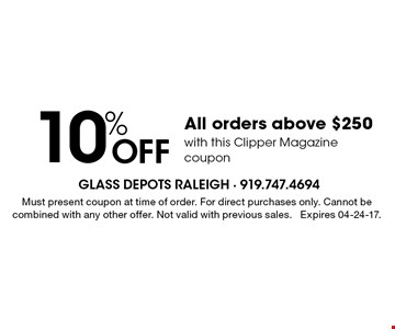 10% Off All orders above $250 with this Clipper Magazine coupon. Must present coupon at time of order. For direct purchases only. Cannot be combined with any other offer. Not valid with previous sales. Expires 04-24-17.