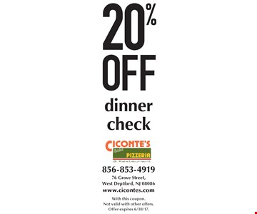 20% off dinner check. With this coupon. Not valid with other offers. Offer expires 6/30/17.