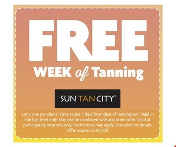 FREE Week of Tanning. Limit one per client. Visit expire 7 days from date of redemption. Valid in the fast level only. May not be combined with any other offer. Valid at participating locations only. Restrictions may apply. See salon for details. Expires 5/20/2017