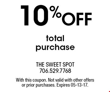 10%OFF totalpurchase. With this coupon. Not valid with other offersor prior purchases. Expires 05-13-17.