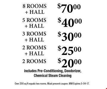 $70.00 8 ROOMS + HALLincludes Pre-Conditioning, Deodorizer, Chemical Steam Cleaning . Over 200 sq ft equals two rooms. Must present coupon. MM Expires 5-04-17.