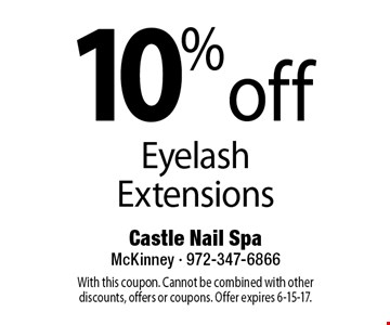10% off Eyelash Extensions. With this coupon. Cannot be combined with other discounts, offers or coupons. Offer expires 6-15-17.