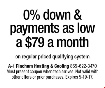 0% down & payments as low a $79 a month on regular priced qualifying system. A-1 Finchum Heating & Cooling 865-622-3470Must present coupon when tech arrives. Not valid with other offers or prior purchases. Expires 5-19-17.
