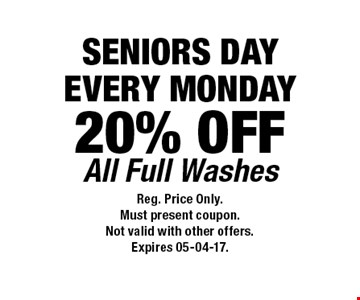 20% OFF All Full Washes. Reg. Price Only.Must present coupon.Not valid with other offers.Expires 05-04-17.