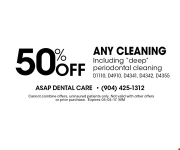 50% Off any cleaningIncluding