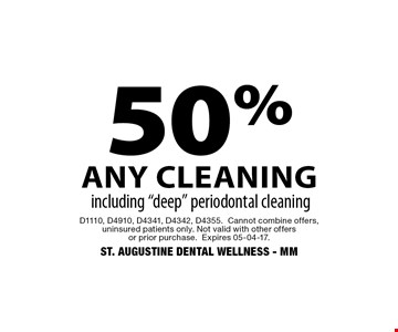 50% any cleaning including