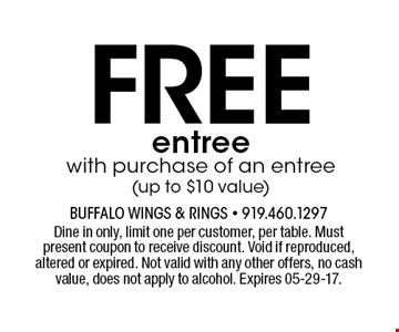 Freeentreewith purchase of an entree (up to $10 value). Dine in only, limit one per customer, per table. Must present coupon to receive discount. Void if reproduced, altered or expired. Not valid with any other offers, no cash value, does not apply to alcohol. Expires 05-29-17.