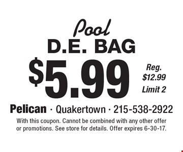Pool: $5.99 D.E. Bag. Reg. $12.99. Limit 2. With this coupon. Cannot be combined with any other offer or promotions. See store for details. Offer expires 6-30-17.