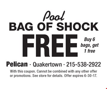 Pool :Free Bag Of Shock. Buy 6 bags, get 1 free. With this coupon. Cannot be combined with any other offer or promotions. See store for details. Offer expires 6-30-17.