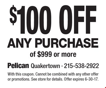 $100 Off Any Purchase of $999 or more. With this coupon. Cannot be combined with any other offer or promotions. See store for details. Offer expires 6-30-17.