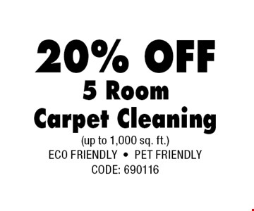 20% OFF 5 RoomCarpet Cleaning.