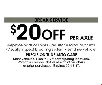 $20 Off per axle break service. Most vehicles. Plus tax. At participating locations. With this coupon. Not valid with other offers or prior purchases. Expires 05-13-17.